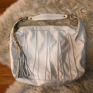 Italian Pulicati white leather tassel bag purse